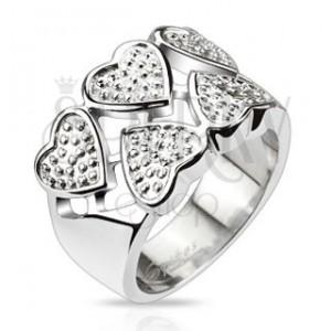 Prsten z chirurgické oceli - střídavá stříbrná srdce s tečkami