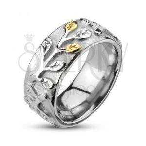 Ocelový prsten se zlato-stříbrnými lístky a patinou