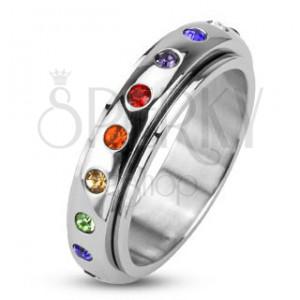 Prsten z chirurgické oceli - točící se obruč s barevnými zirkony