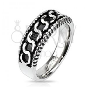 """Prsten z chirurgické oceli - vzor ve tvaru písmene """"S"""", patina"""
