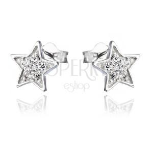 Náušnice ze stříbra 925 - gravírované hvězdy se zirkony