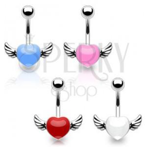 Piercing do pupíku z chirurgické oceli - barevné srdce s křídly