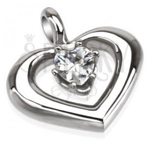 Ocelový přívěsek - oblá kontura srdce s čirým zirkonem ve středu