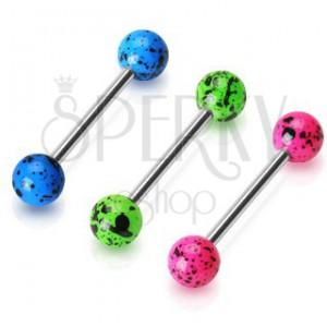 Ocelový piercing do jazyka - činka s barevnými flekatými kuličkami