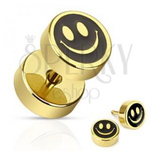 Fake plug do ucha z oceli - zlatočerný usměvavý smajlík