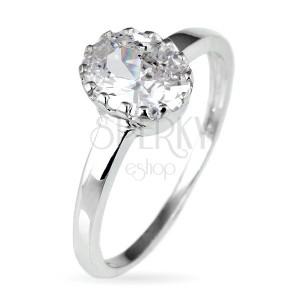 Zásnubní prsten ze stříbra 925 - oválný zirkon v korunce