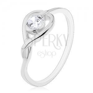 Prsten ze stříbra 925 - překřížená silueta srdce se zirkonem