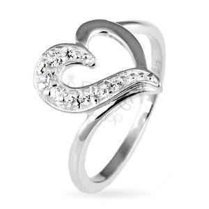 Stříbrný prsten 925 - nepravidelné srdce se zirkonovou polovinou