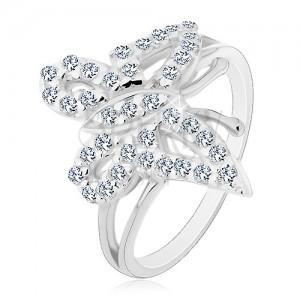 Prsten ze stříbra 925 - zaoblený třpytivý zirkonový motýl