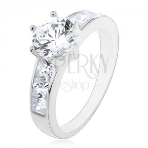 Prsten ze stříbra 925 - zirkon v korunce, ramena se čtvercovými zirkony