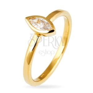 Prsten ze stříbra 925 - vystouplý zirkon v zrnkové obruči, zlatý odstín