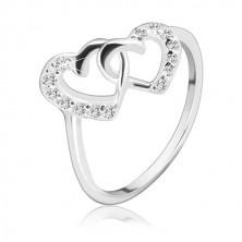 Stříbrný prsten 925 - propletená srdce vykládaná zirkony