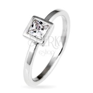 Stříbrný prsten 925 - vystouplý čtvercový zirkon v objímce