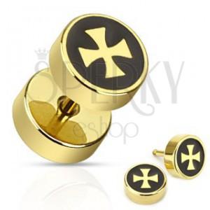 Falešný plug z chirurgické oceli - zlatý kříž na černém podkladu
