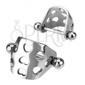 Ocelový piercing do chrupavky - oblouček se srdcovými výřezy