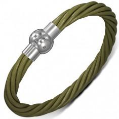 Kožený náramek - zelené točené šňůrky, zapínání na magnet AB3.05