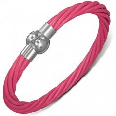 Náramek z kůže - růžové točené šňůrky, zapínání na magnet AB3.07
