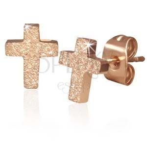 Ocelové náušnice s plochým pískovaným křížem