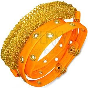 Náramek z umělé kůže - zlaté řetízky, neonově oranžový vyrážený pás