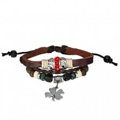 Kožený náramek - proplétané šňůrky, červený zirkonový kroužek, čtyřlístek AC05.26