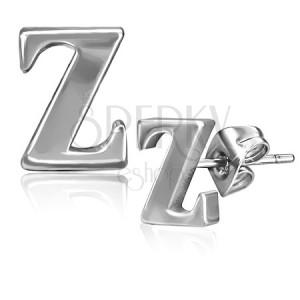Ocelové náušnice - písmenko Z, puzetky