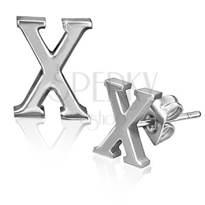 Ocelové náušnice - hladký tvar písmene X