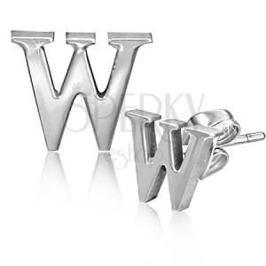 Puzetové ocelové náušnice - tiskací písmeno W