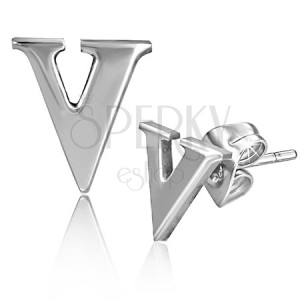 Náušnice z oceli - písmeno V, puzetové zapínání