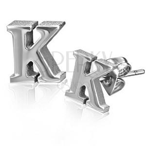 Náušnice z oceli - tvar písmenka K, puzetové zapínání