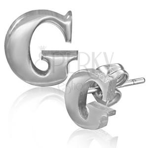 Náušnice z oceli - hladké písmeno G, puzetky
