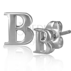 Ocelové náušnice - lesklý tvar písmene B