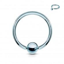 Titanový piercing - kroužek s lesklou kuličkou uprostřed