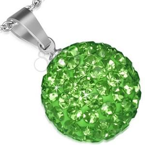 Přívěsek z oceli SHAMBALLA - třpytivá zelená kulička