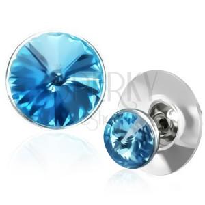 Měděné náušnice - modrý krystal Swarovski ve stříbrné objímce