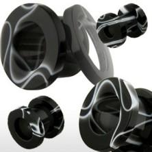 Tunel do ucha z akrylu, černý s bílým mramorovým vzorem