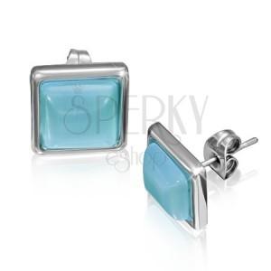 Čtvercové náušnice z oceli s modravým kamenem v objímce