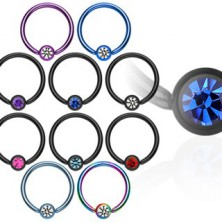 Piercing kroužek s kuličkou z anodizovaného titanu se zirkonem