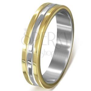 Prsten z chirurgické oceli - zlato-stříbrné pásy s vroubky