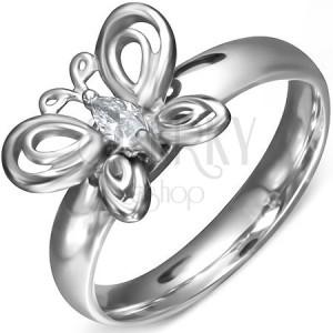 Prsten z chirurgické oceli - kroužek se zirkonovým motýlkem